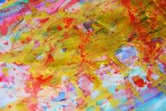 绘抽象背景的金黄蓝色桃红色水彩 库存图片