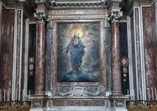 绘描述神圣的心脏在圣洛伦佐的保佑的圣礼的教堂里在Lucina 免版税库存图片