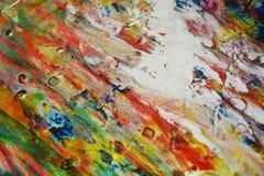 绘水彩橙色桃红色紫色金子蓝色白色纹理油漆水彩斑点 库存照片