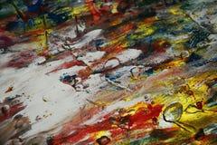 绘水彩被弄脏的橙色黑暗的桃红色紫色金子蓝色白色纹理油漆水彩斑点 图库摄影