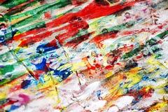 绘水彩被弄脏的橙色黑暗的桃红色红色紫色金子蓝色白色纹理油漆水彩斑点 免版税库存照片