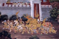 绘泰国传统墙壁的艺术 免版税库存图片