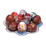 绘牌照的不同的复活节彩蛋 免版税图库摄影