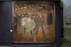 绘画亨利de图卢兹洛特勒克 跳舞在红磨坊 库存图片