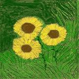 绘画向日葵 免版税库存图片
