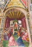 绘画在Piccolomini图书馆里在锡耶纳Cathedral Duomo di西埃 免版税库存图片