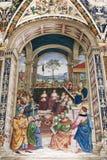 绘画在Piccolomini图书馆里在锡耶纳Cathedral Duomo di西埃 图库摄影