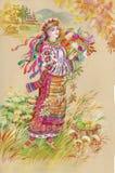 绘画收集: 复活节斯拉夫语传统 免版税库存照片