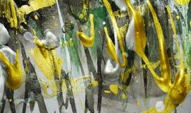 绘画纹理,银色黑暗的白色金黄绿色生动的树荫,抽象纹理 免版税库存照片