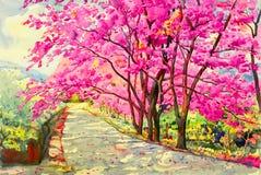 绘画野生喜马拉雅樱桃水彩landscapem  向量例证