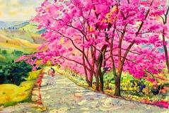 绘画野生喜马拉雅樱桃水彩landscapem  皇族释放例证
