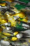 绘画金银水彩纹理,银色黑暗的白色金黄绿色生动的树荫,抽象纹理 库存图片