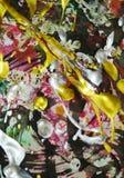 绘画银色桃红色黑暗的黄色白色绿色红色金子黑暗的颜色,抽象背景 免版税库存图片