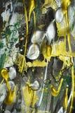 绘画银色黑暗的白色金黄绿色生动的树荫,抽象纹理 库存照片