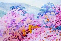 绘画风景水彩原始五颜六色狂放himal 向量例证