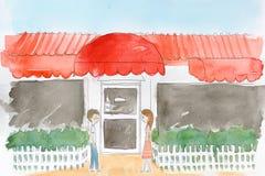 绘画餐馆水 免版税库存图片