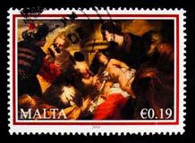 绘画魔术家`的`崇拜瓦莱里奥Castello,圣诞节serie,大约2010年 免版税库存图片