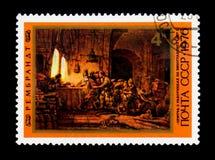 绘画`民工的寓言葡萄园`的伦布兰特,大约1976年 免版税库存照片