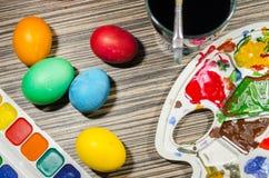 绘的复活节彩蛋 免版税库存图片