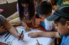 绘的孩子画和 免版税库存照片
