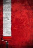 绘红色路辗墙壁空白 免版税库存照片