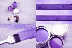 绘罐头和色的刷子在白色背景 库存照片