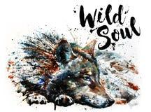 绘食肉动物的动物狂放的灵魂的狼水彩 库存照片