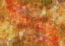 绘黄褐色黑暗的秋天背景墙纸的神秘的红色帆布摘要难看的东西生锈的被变形的朽烂老纹理 库存照片