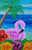 绘,变粉红色在木槿的火鸟 库存照片