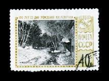 绘`艺术家Isaak列维坦, 100出生年3月`周年,大约1961年 免版税库存照片