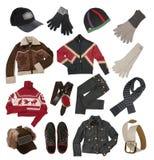 给人冬天穿衣 库存图片
