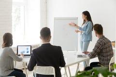 给介绍traini的亚裔女实业家教练或雇员 免版税库存图片