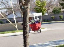 给他的孩子在一个推车的父亲乘驾从他的自行车 免版税库存照片