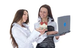 给企业庄园实际二妇女做广告 免版税图库摄影