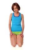 给健身妇女穿衣 免版税库存照片