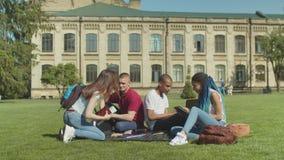 给关于草坪的多种族学生高五会议 影视素材