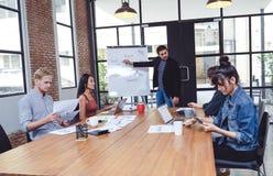 给创造性的介绍的确信的年轻人他的同事工友在会议室 配合概念 分享int 免版税库存照片
