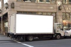 给发运准备好的卡车做广告 库存照片