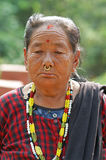 给国家尼泊尔纵向妇女穿衣 免版税库存图片