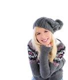 给女孩纵向冬天穿衣 库存图片