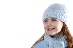 给女孩纵向冬天穿衣 库存照片
