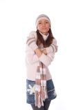 给帽子冬天妇女穿衣 免版税库存图片