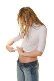 给性感的女孩穿衣弄湿 免版税库存图片