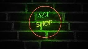 给性的霓虹灯广告成人做广告准许了性商店 库存例证