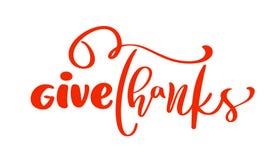 给感谢友谊家庭正面行情感恩天字法 书法贺卡或海报图表 库存例证