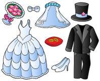 给收集婚礼穿衣 免版税库存照片