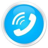 给敲响的象优质深蓝蓝色圆的按钮打电话 库存例证