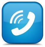 给敲响的象特别深蓝蓝色方形的按钮打电话 库存例证