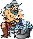 给牛仔洗涤物穿衣 皇族释放例证