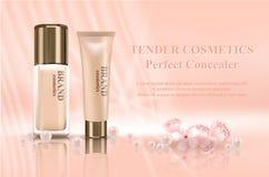 给现实3d大模型的化妆用品与容器的构成做广告 皇族释放例证